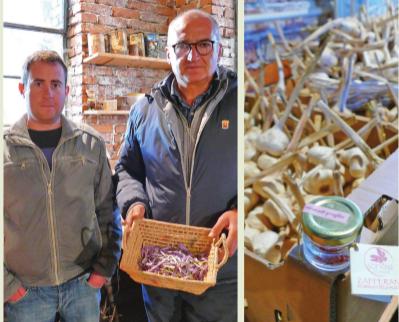A sinistra: il tecnico di Confagricoltura Cuneo Fabrizio Bima con l'imprenditore Massimo Morre. A destra: un vasetto di Söfran di Caraglio