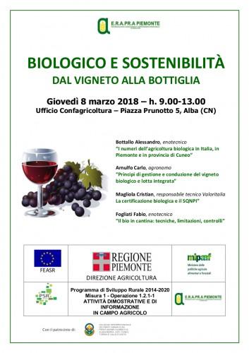 """Locandina seminario """"Biologico: dal vigneto alla bottiglia"""""""