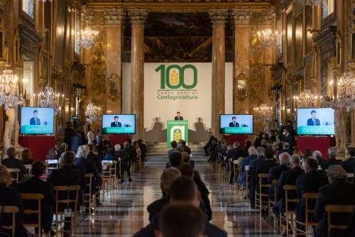Il presidente del Consiglio Giuseppe Conte interviene alle celebrazioni del Centenario di Confagricoltura