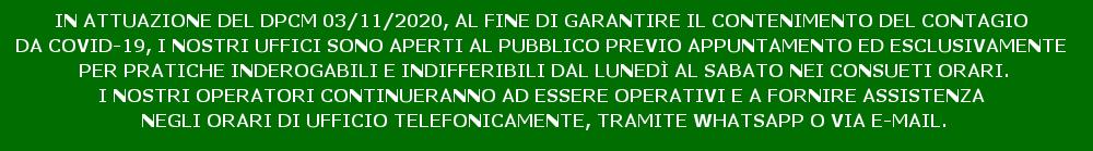 Banner ingresso previo appuntamento_Contenimento Covid_nov 2020